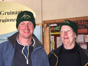 Picture of my mother and me with our WalkIslay hats