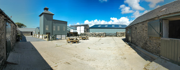 Picture of a panoramic view of a farm distillery (Kilchoman distillery on Islay)